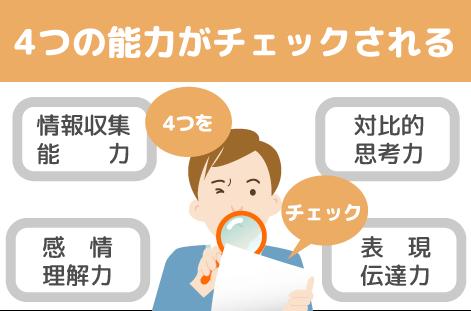 入学試験の問題の作成者は4つの能力をチェックする